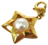 Chanel Auth CHANEL Vintage CC Logos Pearl Key Holder Charm YG750 Accessories LP09128