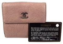 Chanel Authentic CHANEL CC Camellia Bifold Wallet Leather Pink France Vintage 09C704