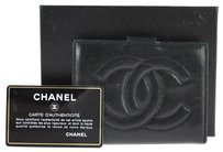 Chanel Authentic CHANEL CC Logos Bifold Wallet Black Leather Vintage France Box LP03188