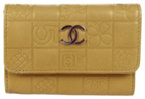 Chanel Authentic CHANEL CC Logos Six Hooks Key Case Leather Beige Italy Vintage 05B387
