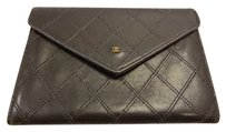 Chanel AUTHENTIC CHANEL STITCH WALLET BLACK LAMBSKIN LEATHER COCO PURSE