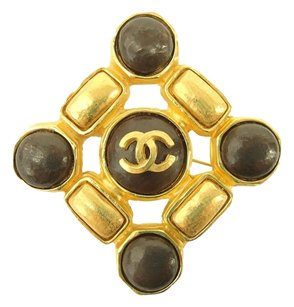 Chanel Authentic CHANEL Vintage CC Logos Brooch Pin Gold-Tone Corsage 215-4 4.2