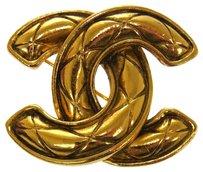Chanel AUTHENTIC CHANEL VINTAGE CC LOGOS BROOCH PIN GOLD-TONE CORSAGE FRANCE AK02829