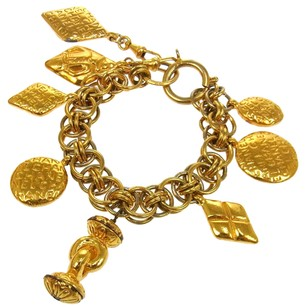 Chanel Authentic CHANEL Vintage CC Logos Gold Chain Bracelet France Accessories LP11906