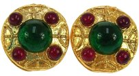 Chanel AUTHENTIC CHANEL VINTAGE CC LOGOS STONE EARRINGS GOLD-TONE CLIP-ON FRANCE W25583