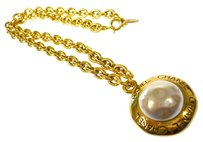Chanel Authentic CHANEL Vintage Necklace CC Logos Faux Pearl Gold Charm France LP09904