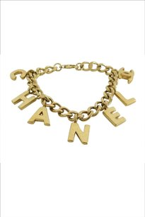 Chanel Authentic Stamped Chanel Letter Charmed Bracelet 18k Gold Plated