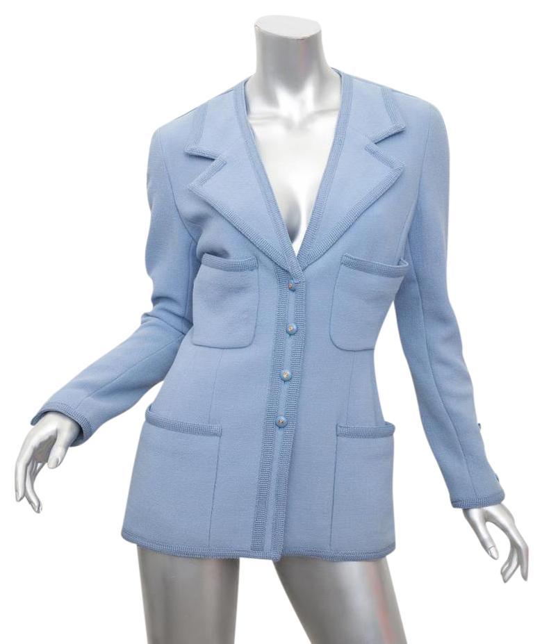 Chanel Vintage Jacket Coat Baby Blue Blazer ...