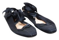 Chanel Satin Ankle Lace Black Flats