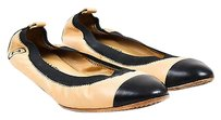 Chanel Nude Leather Two Black Flats