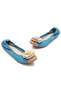Chanel Blue Leather Cork Turquoise blue, light brown Flats