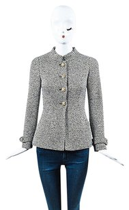 Chanel White Gold Metallic Tweed Jeweled Button Up Ls Black Jacket