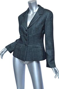 Chanel Womens Blackgrey Lightweight Sparkle Fitted Coat Blacks Jacket