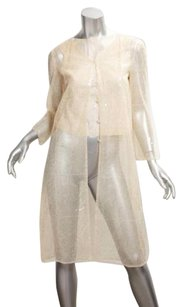 Chanel 00c Womens Tulle Mesh Sequin Sheer Blouse 362 Ivory Jacket