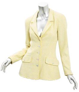 Chanel Womens Yellow Cottonwool Tweed Blazer Jacket