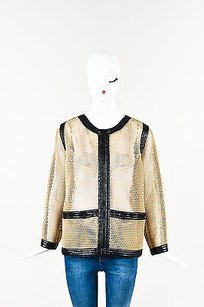 Chanel Black Mesh Tan Jacket