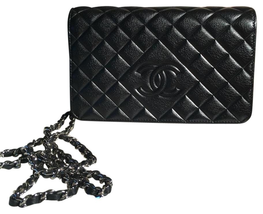 Chanel Black Lamb With Silver Glaze Wallet on Silver Chain Brand New and Perfect, Flawless and Limited Adittion Sold Out!
