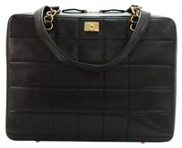 Chanel Black Quilted Leather Laptop Bag