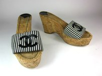 Chanel Black White Cork Cc Wedge Sandals