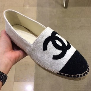 Chanel black, white Flats