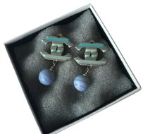 Chanel Blue enamel strip CC bead ball dangle drop clip on earrings