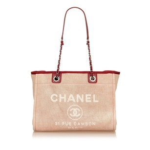 Chanel Bordeau Canvas Fabric 6lchto004 Tote