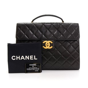 Chanel Briefcase Leather Hand Black Travel Bag