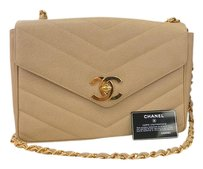 Chanel Caviar Beige Shoulder Bag