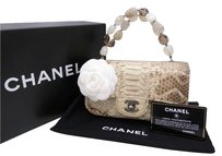 Chanel Cc Logo Python And Stones Tote in Beige