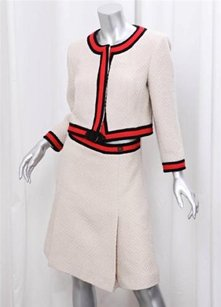 Chanel Chanel 01a Womens Ivoryred Stripe Wool Tweed Jacketskirt Suit Fr4042 Us810