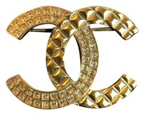 Chanel Chanel 2017 Cc Logo Brooch Pin Cruise Cuba Quilted Gold Crystals