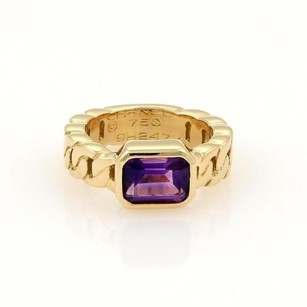 Chanel Chanel 2ct Emerald Cut Amethyst 18k Yellow Gold Curb Link Design Band Ring