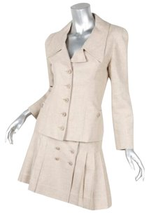 Chanel Chanel 94p Vintage Beige Linen Blazer Jacketpleated Skirt Suit 3436 24