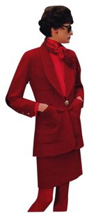 Chanel CHANEL 97A Ines Red campaign VINTAGE RED WOOL100 % SKIRT SUIT F42