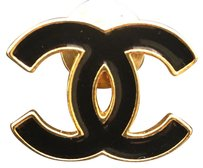 Chanel CHANEL Authentic CC Black Enamel Brooch Gold