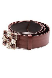 Chanel Chanel Burgundy Leather Gripoix Pearl Cc Belt Size 34