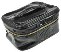 Chanel CHANEL BLACK LOGOS VANITY COSMETIC HAND BAG PATENT LEATHER VINTAGE