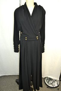 Chanel Chanel Boutique Black Ruched Arm Wide Leg Satin Stripe Gold Button Pant Suit