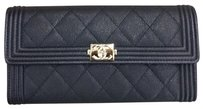 Chanel Chanel Boy Long Flap Wallet in Black Caviar Light Gold Hardware