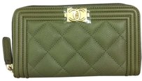 Chanel Chanel Boy Zip Around Small Wallet In Khaki Green Caviar Leather Gold HW