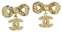 Chanel Chanel CC Bow Stud Earrings in Gold with Swarovski Crystals NEW 2017