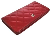 Chanel CHANEL CC Logos Red Leather Quilted Bifold Long Wallet Vintage