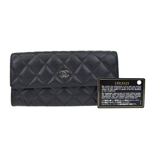 Chanel CHANEL CC Quilted Long Bifold Caviar Skin Leather Wallet Purse