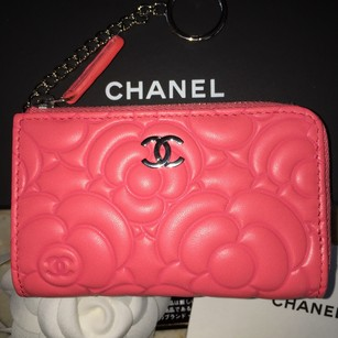 Chanel Chanel Chanel Classic CC O Key Holder - Coral Camellia Key Chain Card Case Wallet