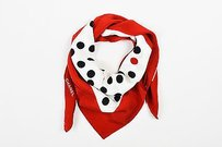 Chanel Chanel Cream Red Black Polka Dot Square Scarf