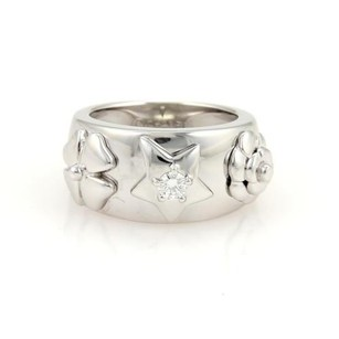Chanel Chanel Diamond Flowers Star 18k White Gold Wide Band Ring 4.75