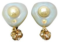 Chanel Chanel Gold Plated Swing Rhinestones Faux Pearl Clip on Earrings