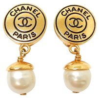 Chanel CHANEL Gold Tone CC Logo Clip-on Pearl Earrings