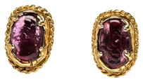Chanel Chanel Gold Vintage Purple Embellishment Clip On Earrings