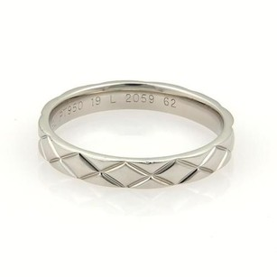 Chanel Chanel Iconic Quilted Platinum 3.5mm Wide Band Ring Eu 62-us